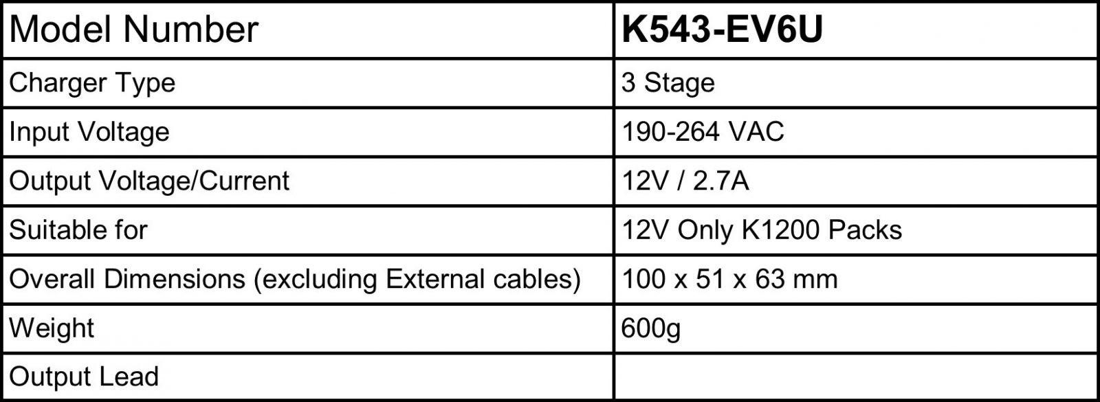 KJC Technik 12v Battery Booster Charger CV-K543-EV6U